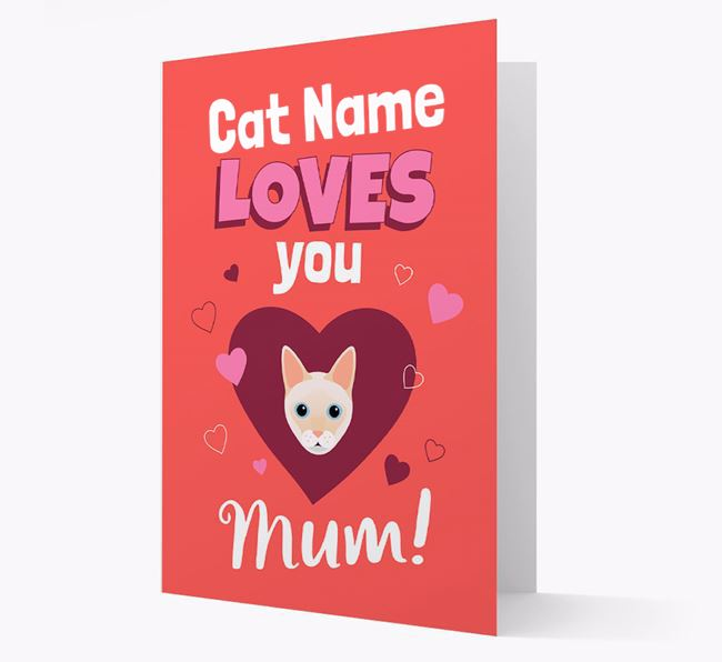 'Loves You Mum' - Personalised Siamese Card