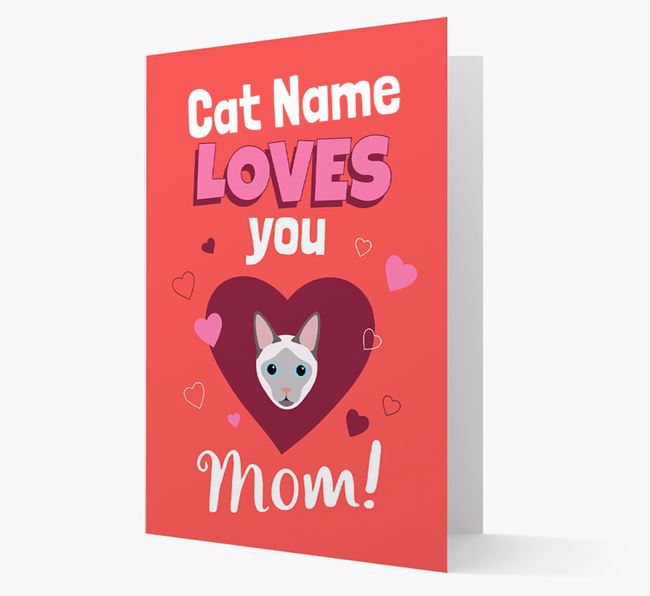 'Loves You Mom' - Personalized Siamese Card