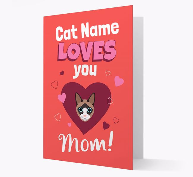 'Loves You Mom' - Personalized Cat Card