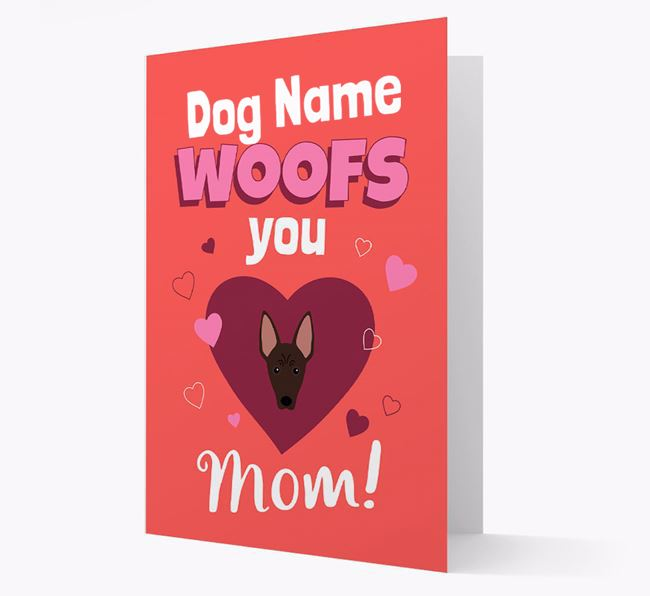 'I Woof You Mom' - Personalized American Hairless Terrier Card