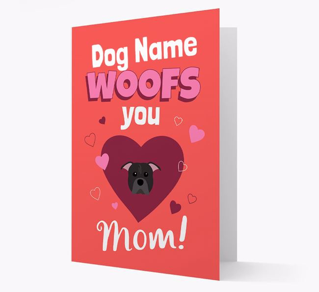 'I Woof You Mom' - Personalized American Pit Bull Terrier Card