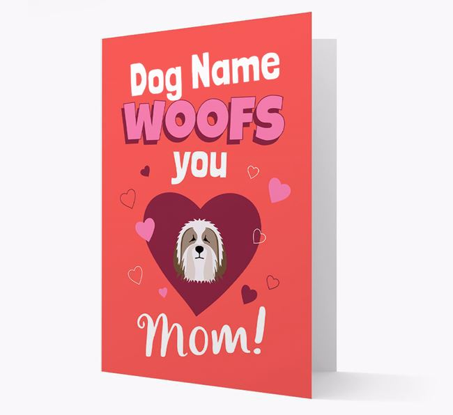 'I Woof You Mom' - Personalized Bearded Collie Card