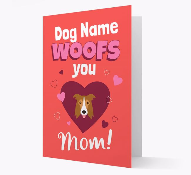 'I Woof You Mom' - Personalized Border Collie Card