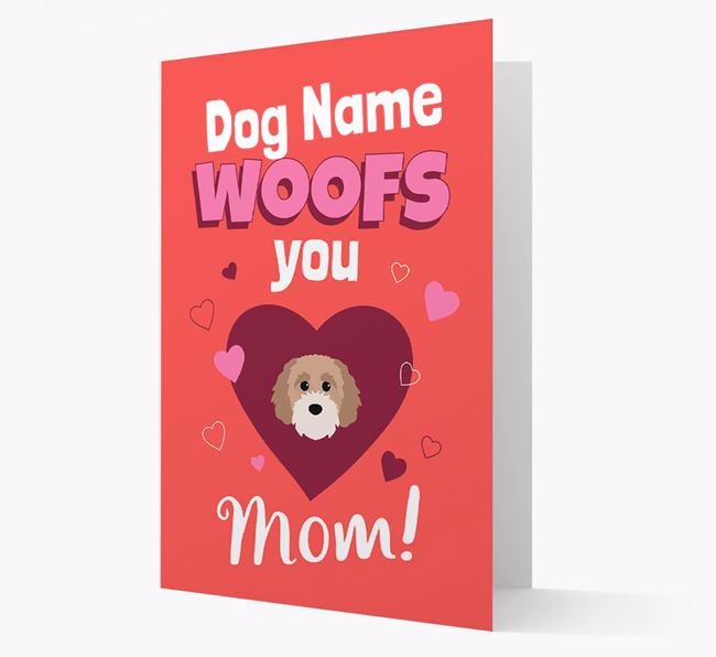 'I Woof You Mom' - Personalized Cavapoochon Card