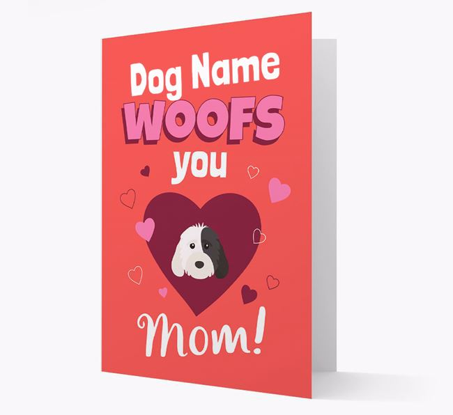 'I Woof You Mom' - Personalized Cockapoo Card