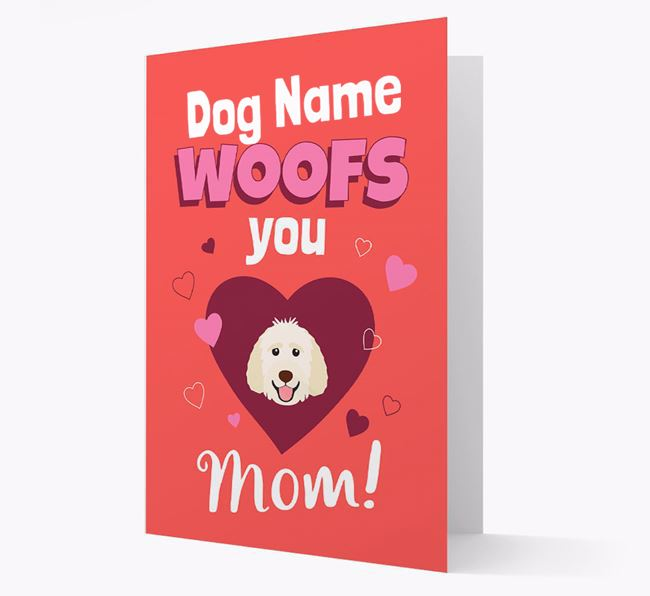 'I Woof You Mom' - Personalized Goldendoodle Card