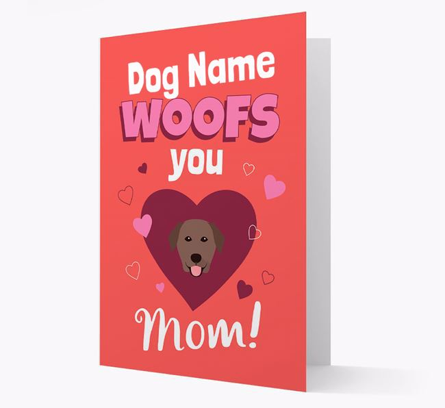 'I Woof You Mom' - Personalized Golden Labrador Card