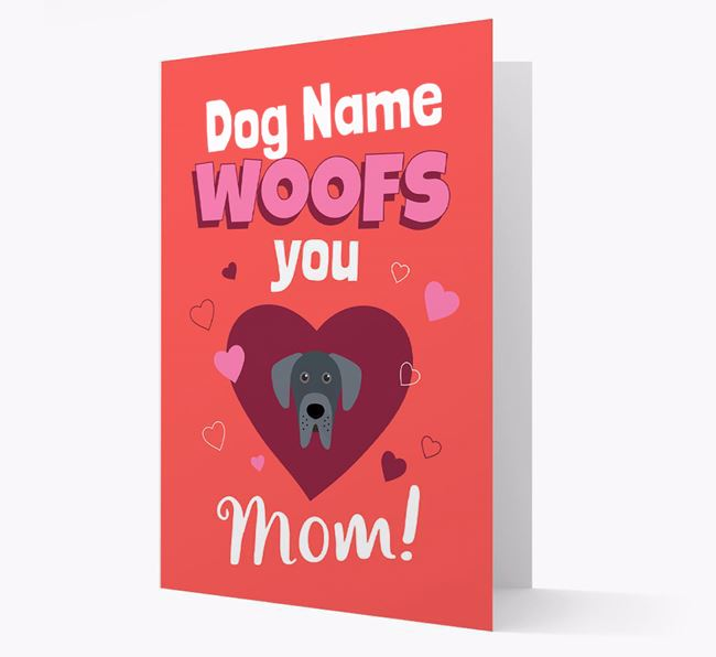 'I Woof You Mom' - Personalized Great Dane Card