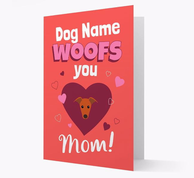 'I Woof You Mom' - Personalized Greyhound Card