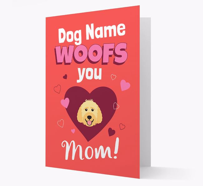 'I Woof You Mom' - Personalized Labradoodle Card