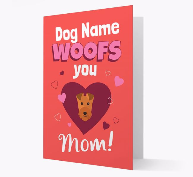 'I Woof You Mom' - Personalized Lakeland Terrier Card