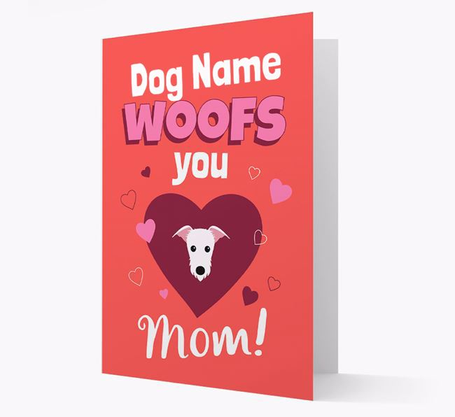 'I Woof You Mom' - Personalized Lurcher Card