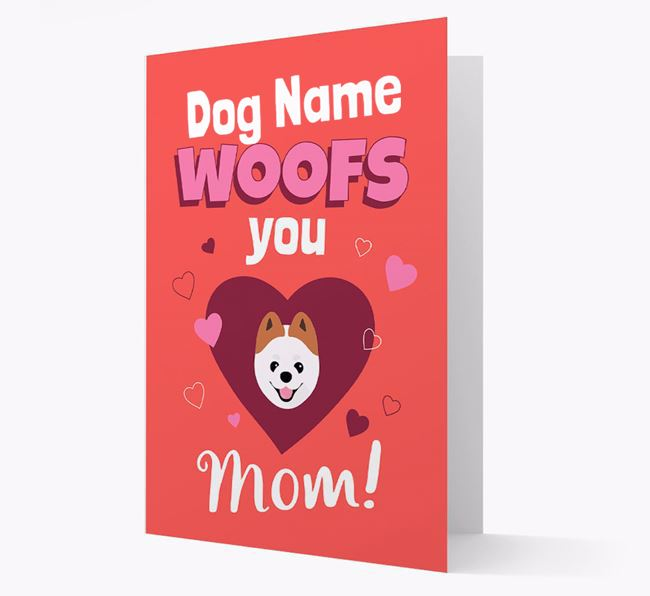 'I Woof You Mom' - Personalized Pomeranian Card