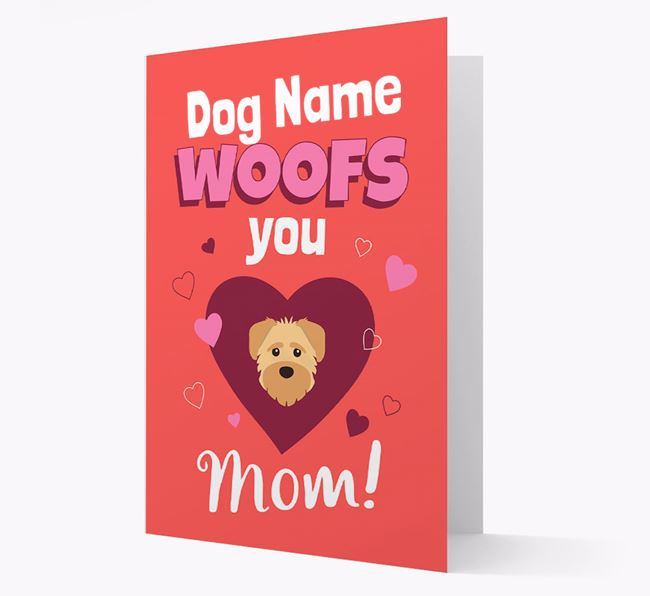 'I Woof You Mom' - Personalized Schnoodle Card