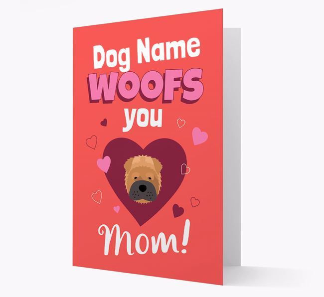'I Woof You Mom' - Personalized Shar Pei Card