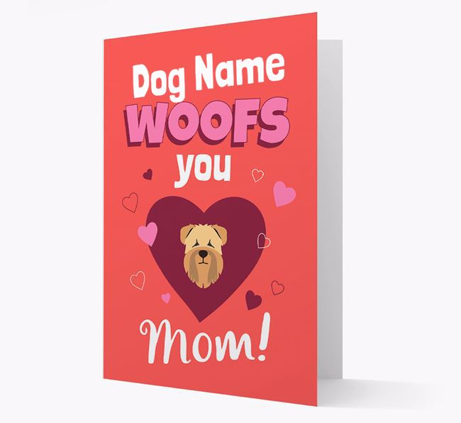 'I Woof You Mom' - Personalized Soft Coated Wheaten Terrier Card