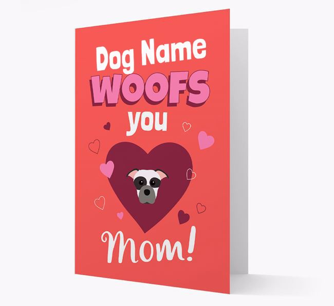 'I Woof You Mom' - Personalized Staffordshire Bull Terrier Card
