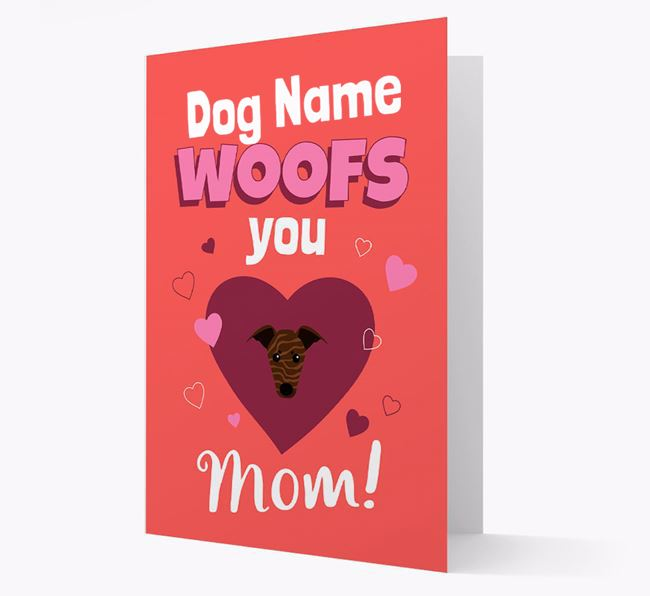 'I Woof You Mom' - Personalized Whippet Card