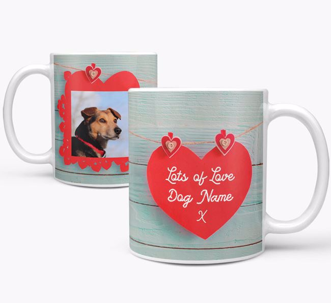 Photo Upload 'Hearts' Mug - Personalized for your Bearded Collie