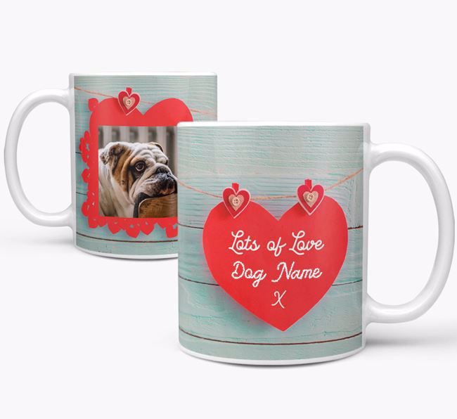 Photo Upload 'Hearts' Mug - Personalized for your English Bulldog