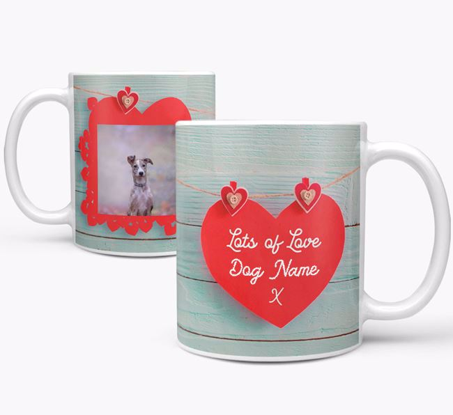 Photo Upload 'Hearts' Mug - Personalized for your Lurcher