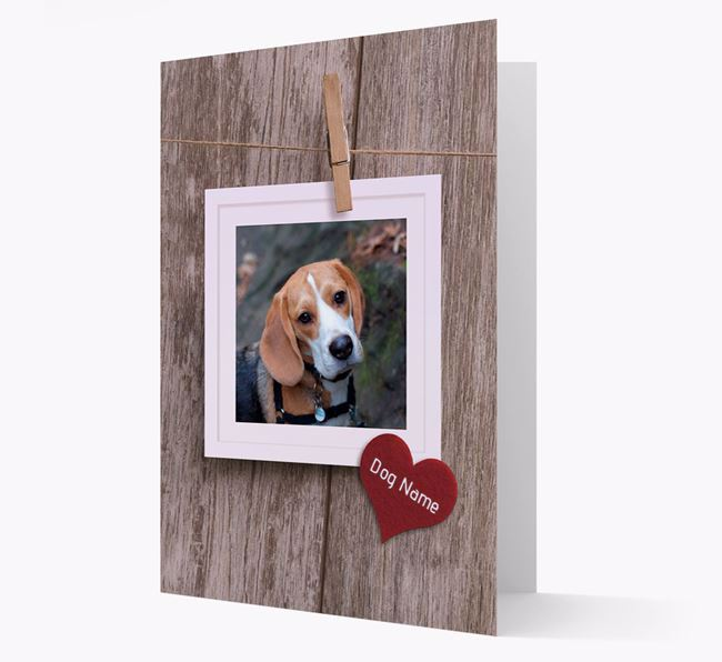 'Pegged on a line' Card with Photo of your Beagle