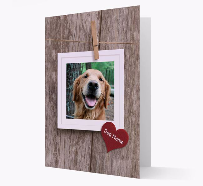 'Pegged on a Line' - Golden Retriever Photo Upload Card