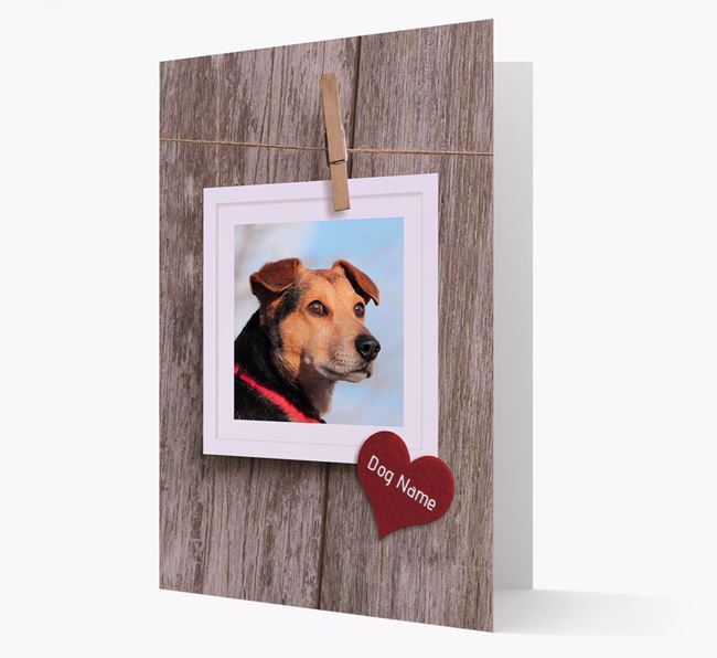 'Pegged on a line' Card with Photo of your Dog