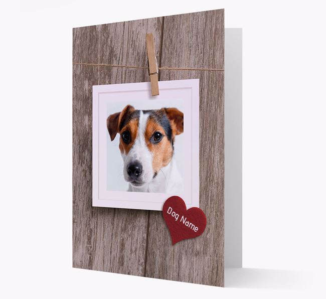 'Pegged on a Line' - Jack Russell Terrier Photo Upload Card