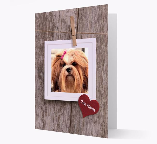 'Pegged on a line' Card with Photo of your Lhasa Apso