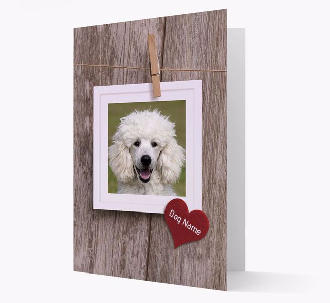 'Pegged on a line' Card with Photo of your Poodle