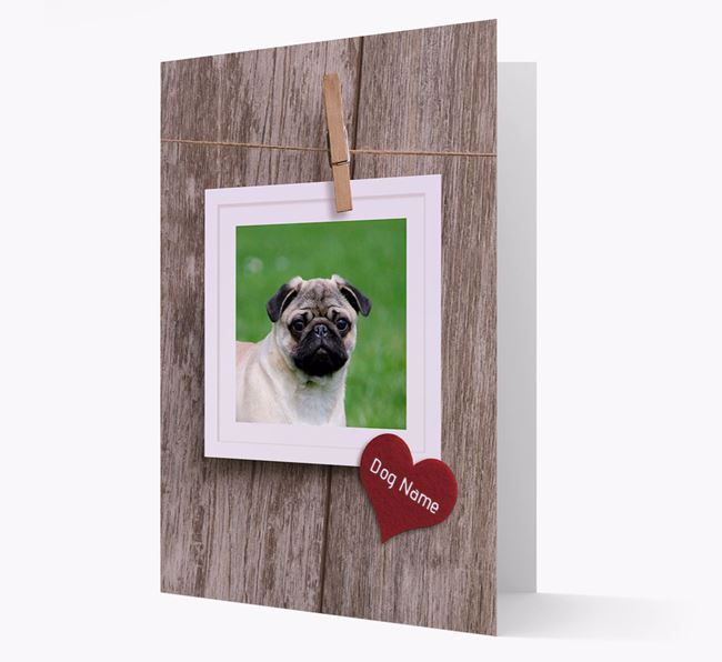 'Pegged on a line' Card with Photo of your Pug