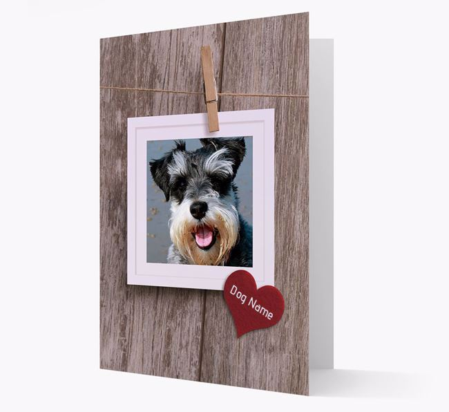 'Pegged on a line' Card with Photo of your Schnauzer