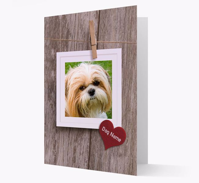 'Pegged on a line' Card with Photo of your Shih Tzu