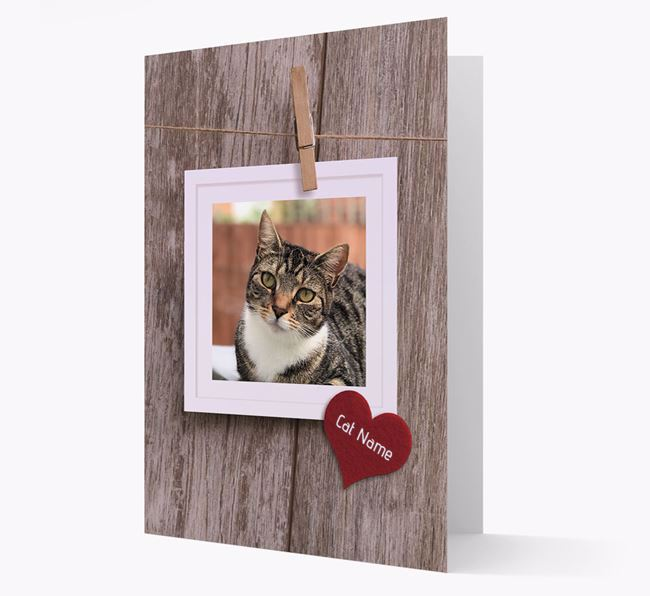 'Pegged on a line' Card with Photo of your Cat
