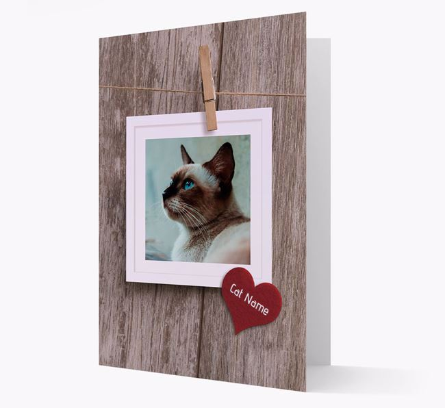 'Pegged on a line' Card with Photo of your Siamese