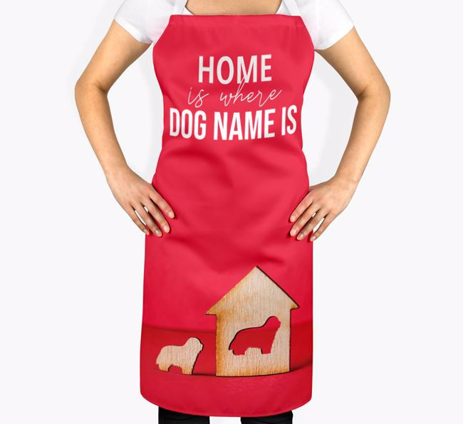 'Home is Where...' - Personalized Bearded Collie Apron