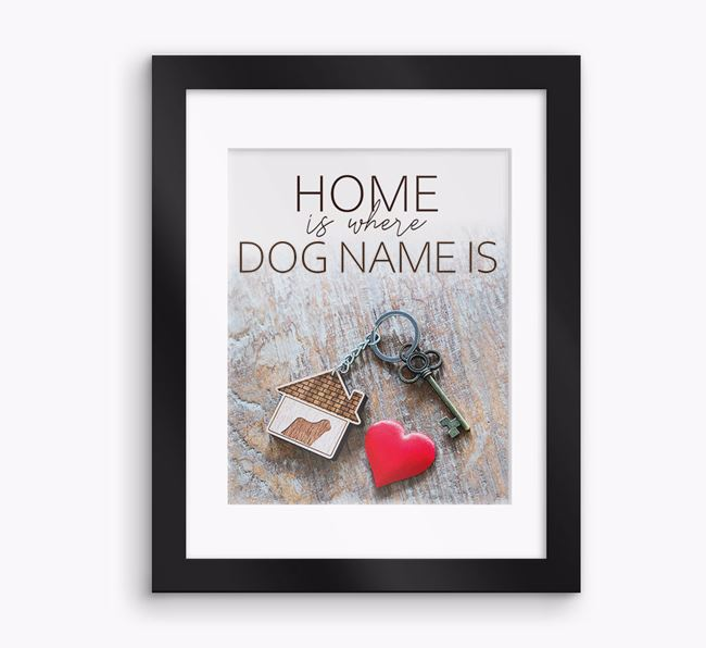 Photo Upload Framed Print 'Home is...' with Mount - Personalised with your Komondor