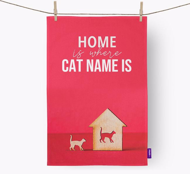 'Home is Where...' - Personalized Cat Dish Towel