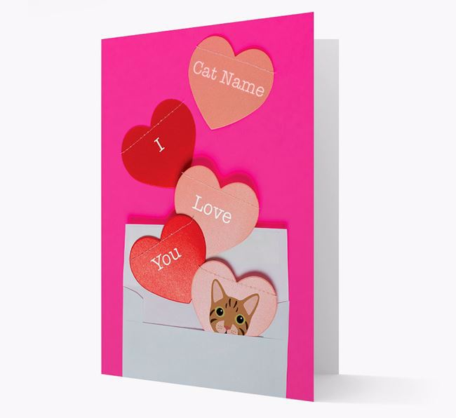 'I Love You' - Personalized Cat Card