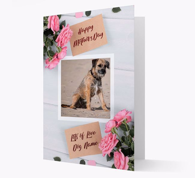 Happy Mother's Day Roses- Personalized Border Terrier Photo Upload Card
