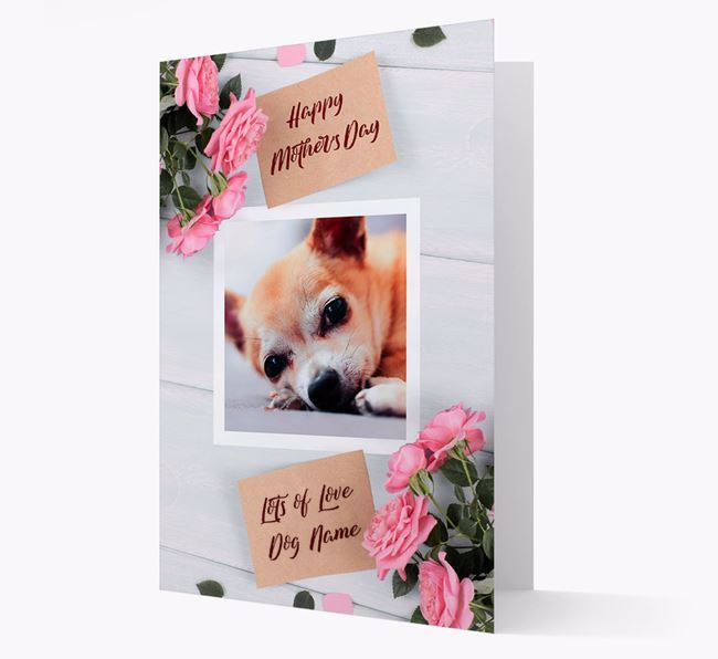Happy Mother's Day Roses- Personalized Chihuahua Photo Upload Card