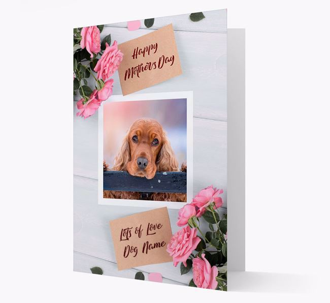Happy Mother's Day Roses- Personalized Cocker Spaniel Photo Upload Card
