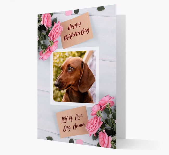 Happy Mother's Day Roses- Personalized Dachshund Photo Upload Card