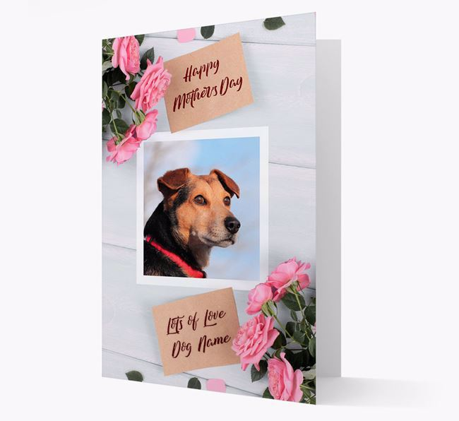Happy Mother's Day Roses- Personalized Deerhound Photo Upload Card