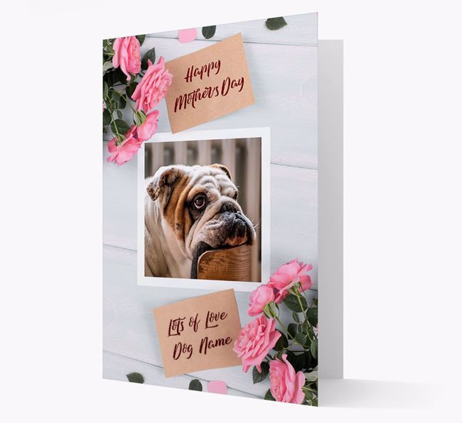 Happy Mother's Day Roses- Personalized English Bulldog Photo Upload Card