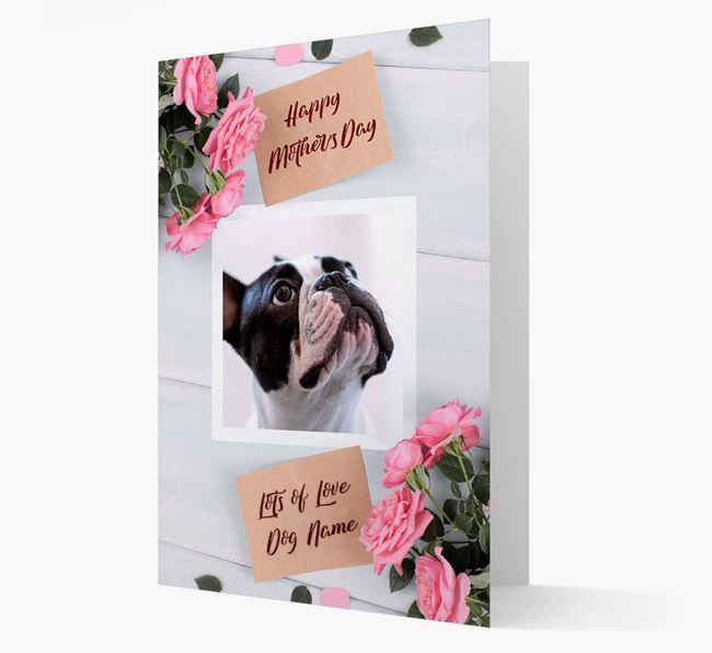 Happy Mother's Day Roses- Personalized French Bulldog Photo Upload Card