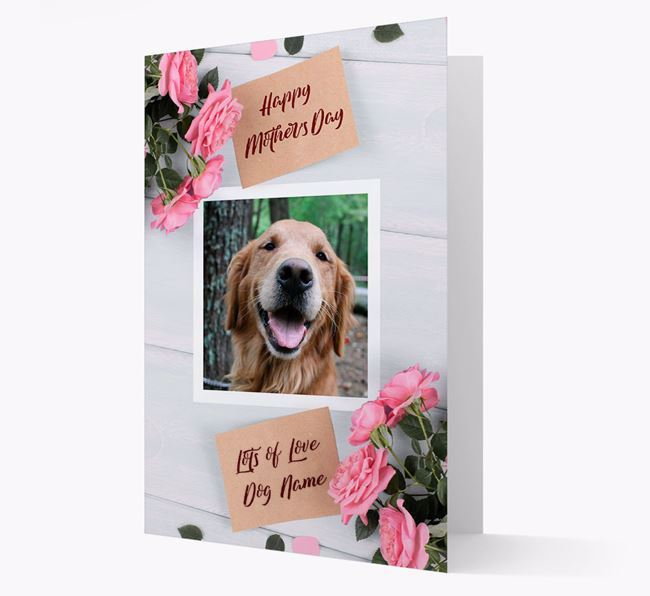 Happy Mother's Day Roses- Personalized Golden Retriever Photo Upload Card