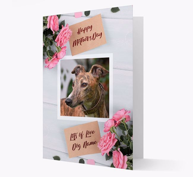 Happy Mother's Day Roses- Personalized Greyhound Photo Upload Card