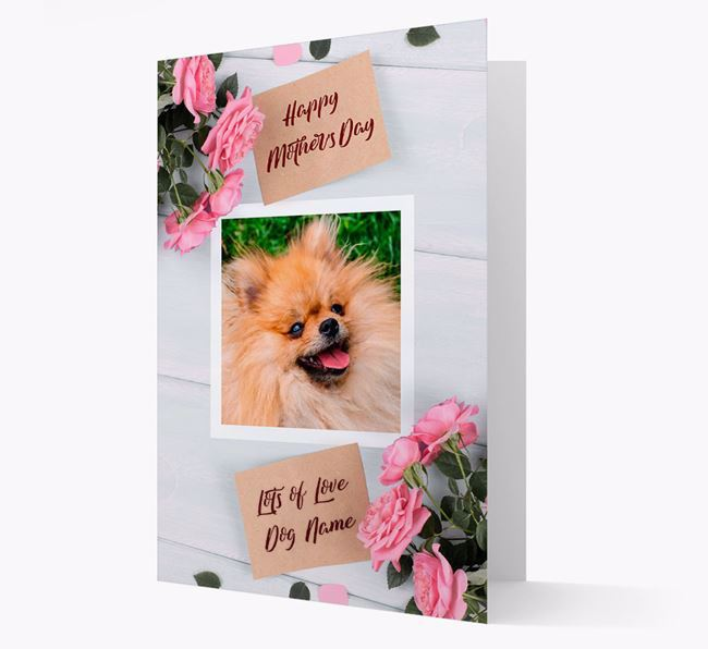 Happy Mother's Day Roses- Personalized Pomeranian Photo Upload Card